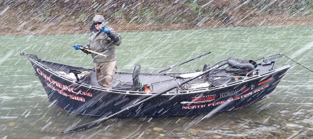 Scott Crawford Chrome Inc. drift boat with Wetlander in snow with human